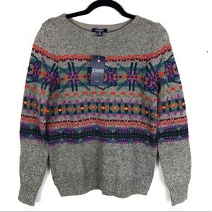 Chaps printed sweater NWT H11